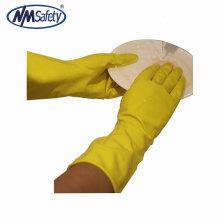 NMSAFETY amarelo latex long cuff household trabalho luvas de borracha