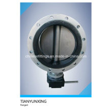 Gearbox Soft Seal PTFE NBR Double Flanged Butterfly Valve
