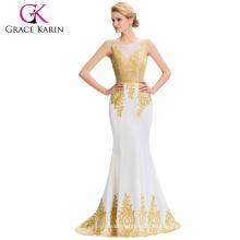 Grace Karin sin mangas de oro Appliques largo vestido formal blanco vestido de noche hasta vestidos GK000026-2