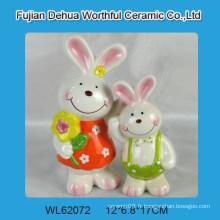 Belle décoration céramique en lapin de pâques