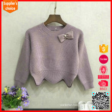 Latest fashion long sleeves girls crewneck pink cashmere thick sweater