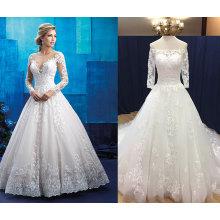 Полный рукав иллюзия свадебное платье с кружевом аппликация край