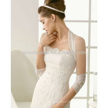 Elegante Strapless Una línea de vestidos de novia con una alta cuello Sheer 3/4 manga larga Chaqueta Nueva Lace Applique vestidos de novia NB004
