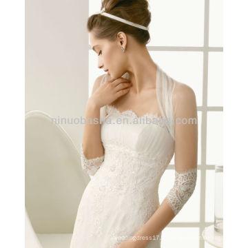 Elegante Strapless A-Line Vestidos de casamento com um pescoço alto Sheer 3/4 Casaco de manga longa New Lace Applique Bridal Gowns NB004