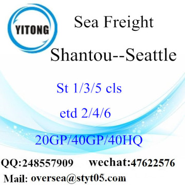 Shantou Port Sea Freight Shipping para Seattle