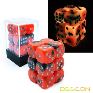 Bescon Two Tone Glowing Dice D6 16mm Set de 12pcs HOT ROCKS, 16mm Die Sided Die (12) Bloc de dés rougeoyant