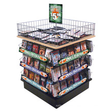 Reliable Free Standing Wire Mesh With Wood Top And Base Supermarket Cd Dvd magazine Display Shelves