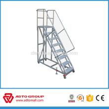 échelle en aluminium de forme de plat, échelle mobile de plate-forme, escalier en aluminium avec la grande plate-forme