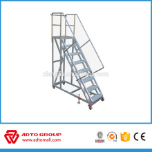 aluminum plat form ladder,movable platform ladder,aluminum stair with big platform