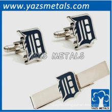 Detroit Tigers cufflinks and tie bar gift set, custom made metal tie clip with design