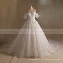 À la mode et nobles A-Line Cap Sleeves Sweetheart Neck Bling Beads Fleurs faites à la main Robe de mariée en dentelle Long Train