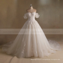 Fashionable & Noble A-Line Cap Sleeves Sweetheart Neck Bling Beads Handmade Flowers Lace Wedding Dress Long Train