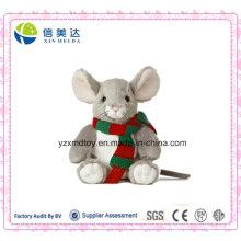 Plüsch Nette Maus Puppe Tragen ein Strick Schal Tier Spielzeug