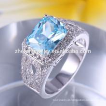 quadratischer Seeblauer Stein-Silber-Ring
