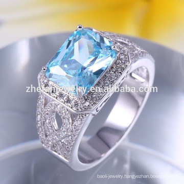 square sea blue stone silver ring