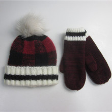 Fashion Plaid Knit Winter Hat Handskar Set