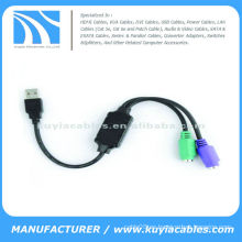 Adaptador de cable USB 2.0 a PS2 para teclado de ratón