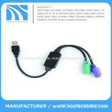 Adaptador de cabo USB 2.0 para PS2 para teclado de mouse