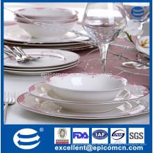 Placa de la cena de China del hueso de la llanta del oro / placa de la corelle real hueso China / China fabrica de platos con la decoración de los puntos