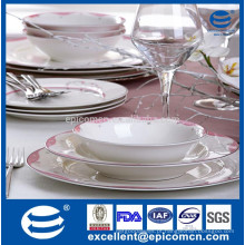 Ouro borda osso China prato de jantar / placa corelle royal bone china / china fabrica de pratos com decoração de pontos