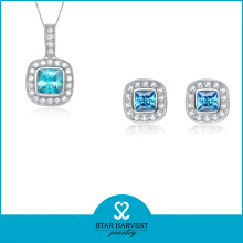 925 Silver Simple Necklace and Earring Jewelry Set (J-0165)