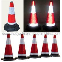 Cone de advertência de advertência reflexivo do tráfego da estrada de borracha de alta qualidade feita sob encomenda