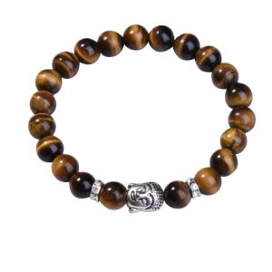 Natural Tiger Eye 8MM Gemstone Buddhism Prayer Beads Bracelets