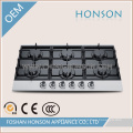 Home Appliance Six Burners Tempered Glass Gas Hob