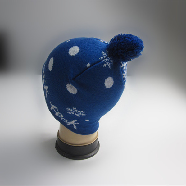 Boys Royal Blue Jacquard Pompom Knitting Hat