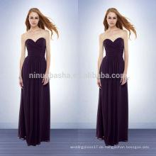 2014 Einfache lila lange Brautjungfer Kleid Schatz gefaltete Mieder drapiert Rock Hülle Chiffon Prom Kleid mit voller Länge NB0732