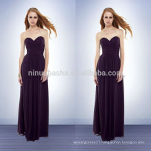 2014 Simple Purple Long Bridesmaid Dress Sweetheart Pleated Bodice Draped Skirt Sheath Chiffon Prom Gown With Full-length NB0732