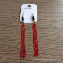 Red Tassel Earrings with Metal