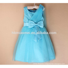 2017 colorful birthday dress for girl of 7 years old with small bow tie