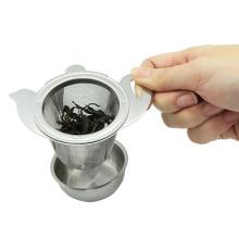 Colador de té de acero inoxidable con plato s/s