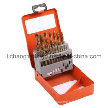 Набор спиральных сверл из быстрорежущей стали 19PCS с алюминиевой коробкой