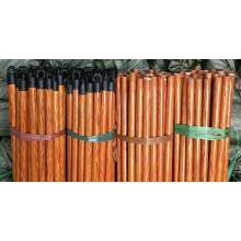 Bâton de balai en bois naturel, une extrémité est vissée, une autre extrémité est coupée directement avec un bouchon en plastique