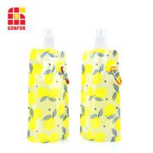 Garrafa de água dobrável e flexível com mosquetão sem BPA