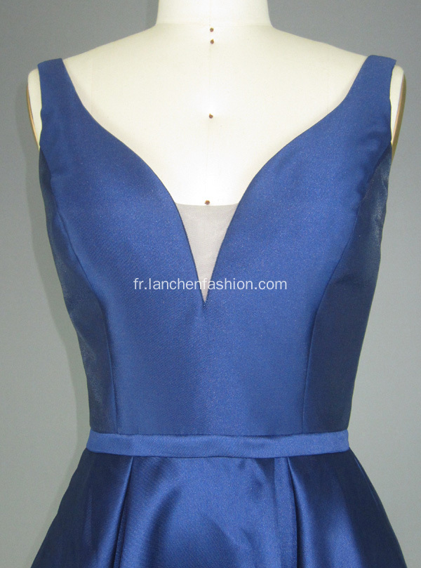 Robes de Cocktail Royal Blue V Neck