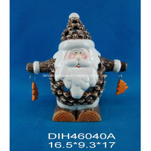 Funny Santa Ceramic Tealight Candle Holder