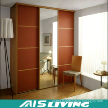 Solid Wood Sliding Door Bedroom Wardrobe Closet with Mirror (AIS-W229)