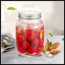 Transparent 1000ml Glass Conserve Jars with Metal Lids