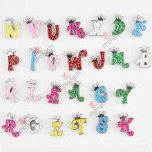 Legierung Metall bunte Anfangsbuchstaben Slide Charm Perlen für Kinder Modeschmuck (JP08-008)