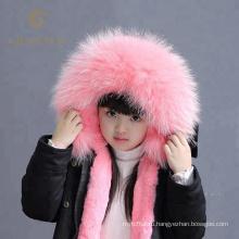 Родитель-детская одежда натуральный мех енота с капюшоном куртка малышей с меховой подкладкой