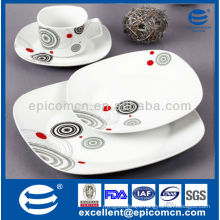 best quality bone china dinner set with classic geometric decor