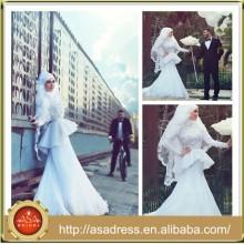 SMA15 elegante lange Hülsen-Meerjungfrau, die moslemisches Hijab Hochzeitskleid bördelt Entwurf