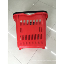 Plastic Supermarket Rolling Shopping Basket with Wheels