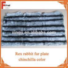 Rex coelho prato tingido chinchila cor seis tiras