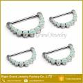 316L aço cirúrgico Prong Set sintético Fire Opal nariz Clicker Clicker piercing jóias