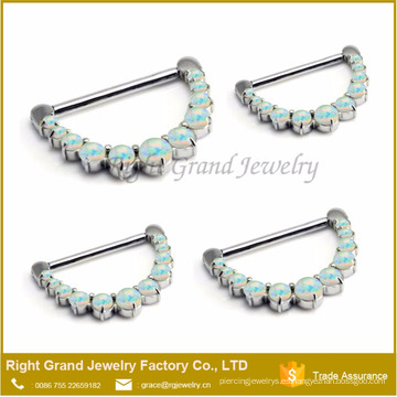 El diente de acero quirúrgico 316L fijó el anillo de la nariz del ópalo de fuego sintético Clicker Septum Piercing Jewelry