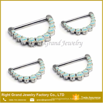 316L Surgical Steel Prong Set Synthetic Fire Opal Nose Ring Clicker Septum Piercing Jewelry